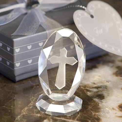 Exquisite Crystal Cross Desk Plaque party favor, glass cross, cross plaque, standing cross, glass plaque, group gfits, class gifts, group gifts, madonna and child, favors, group gifts, italian gifts, items from italy, italy, italian, italian glass