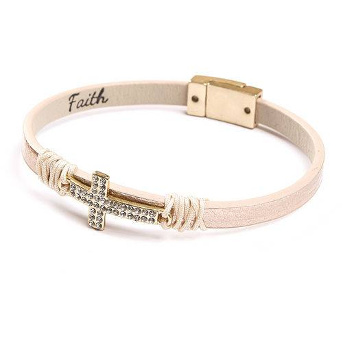 faith leather rhinestone cross bracelet