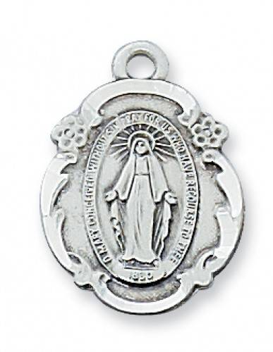 Fancy Miraculous Pendant meraculous medal, silver medal, first communion gift, holy eucharist gift, necklace, miraculous necklace, sacramental gift, reconciliation, confirmation, RCIA, medal and chain,