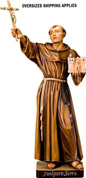 Father Junipero Serra Colored Woodcarved Statue mexican saint, junipero serra,holy card, prayer card, patron saint,  new saint, st. junipero, st. junipero serra,5058/20