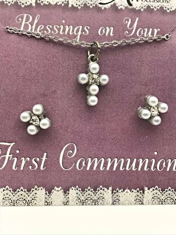 First Communion Pearl Cross Jewelry Set first communion necklace, first communion earrings, pearl necklace, pearl earrings, gift set, JS108