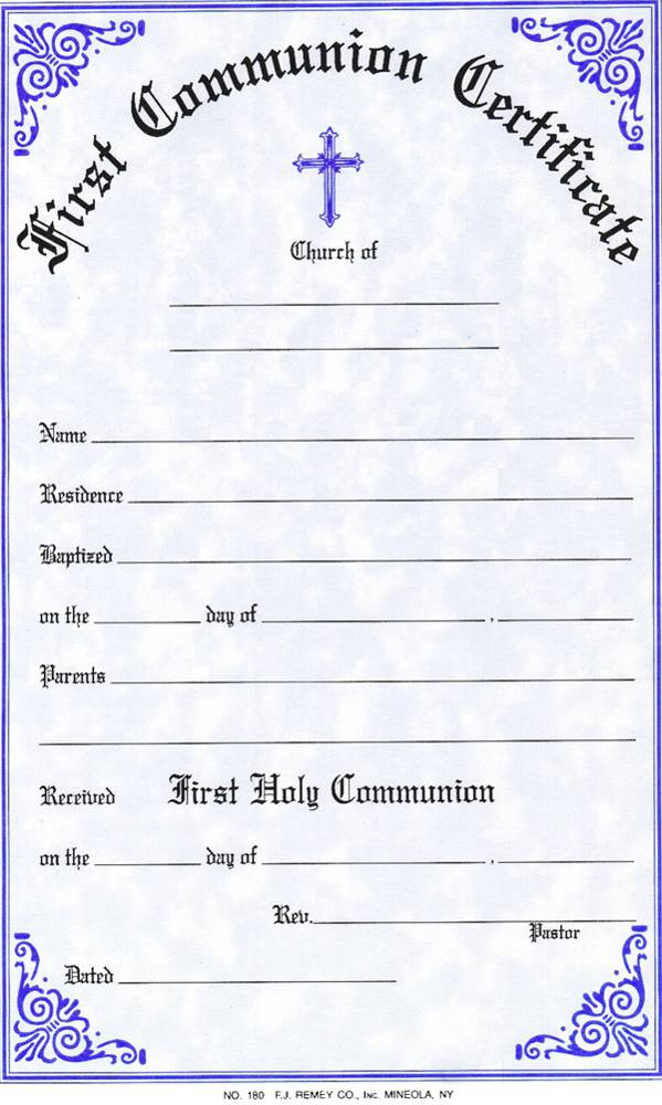 First Communion Certificate certificate, church goods, sacramental certificates, baptism, first communion, confirmation, marriage, death,