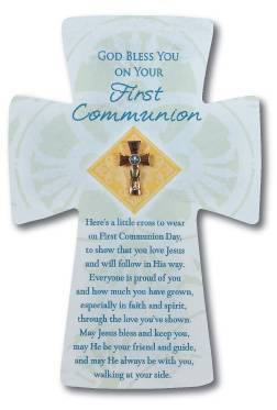 First Communion Cross Lapel Pin on Card first communion lapel pin, cross pin, holy eucharist pin, boy gift, sacrament gift, lapel pin gift