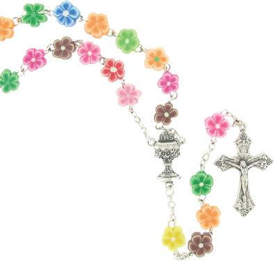 First Communion Flower Rosary first communion rosary, flower rosary, colored rosary, first communion gift, holy eurcharist gift, sacramental gift, SR3938JC