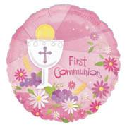 First Communion Foil Balloon Pink first communion partyware, pink partyware,  partyware, girl first communion party,  first communion party, paper products, foil balloon, pink balloon, first communion balloon. party balloon,