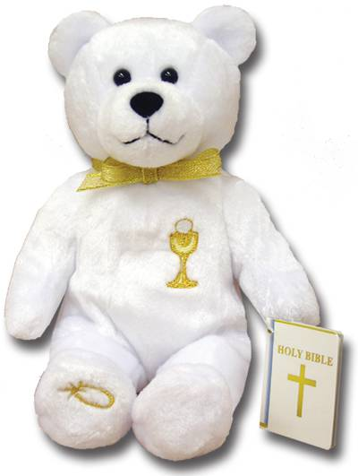 First Communion Holy Bear first communion gift, first communion bear, holy bear, teddy bear, teddy bear gift, girl gift, boy gift, white bear,