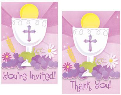 First Communion Pink Invitations and Thank You Cards 489100,first communion partyware, pink partyware, girl first communion party,  first communion party, paper products, first communion invitations, first communion thank you cards, pink invitations, pink thank you cards