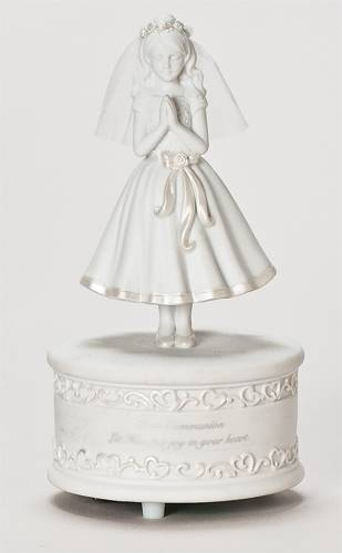 First Communion Musical Girl Figurine first communion figurine, girl statue, first communion statue, music figure, girl gift, first communion gift, porcelain statue, 65498