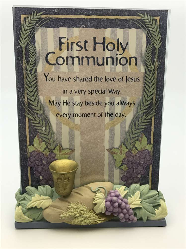 First Communion Plaque with Resin Base*WHILE SUPPLIES LAST* first communion plaque, glass plaque, standing plaque, resin, first communion gift, holy eurcharist gift, 09872