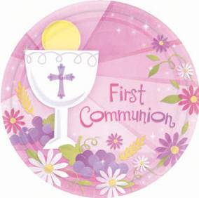 "First Communion Pink Plates 749100, 729100, first communion plates, party ware, first communion party plates, pink plates, blue plates, 7""plates, 10.5"" plates, dessert plates, dinner plates"