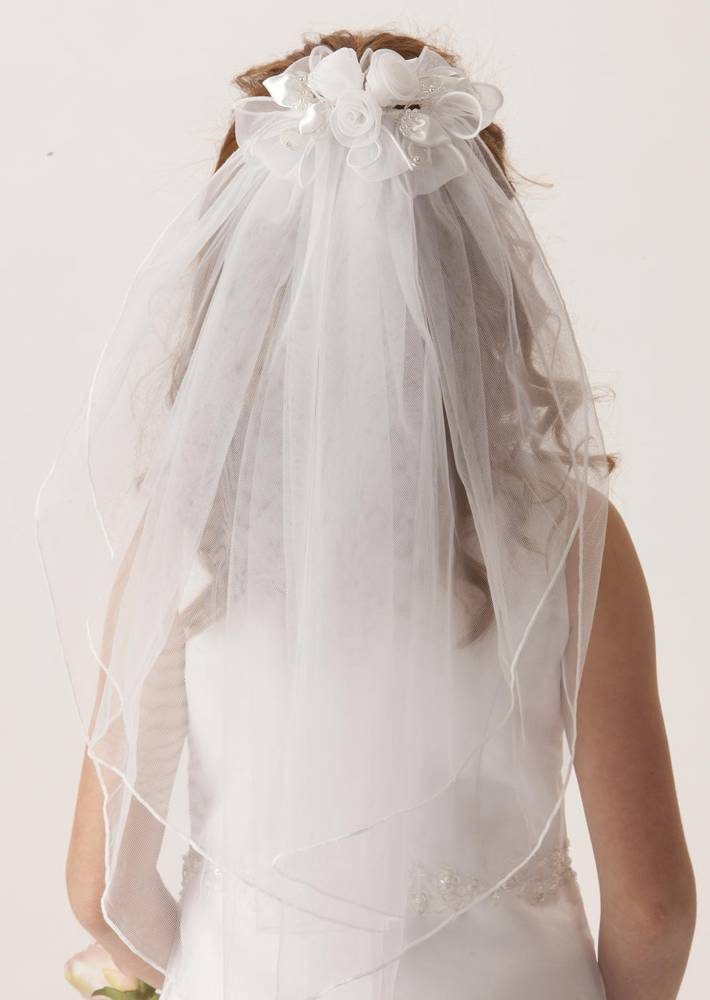 Floral Clip Veil *WHILE SUPPLIES LAST* first communion, first communion veil, white veil, headband veil, eucharist veil, holy communion veil