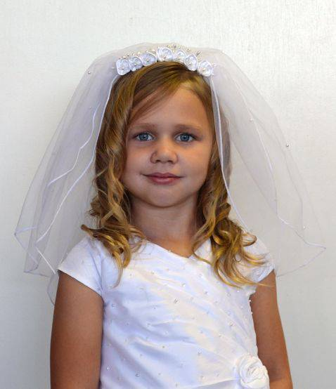 Floral Comb Face Framer First Communion Veil veil, first commmunion veil, head piece, wreath veil, girls veil, flower girl veil, floral veil, holy eurcharist veil, first communion apparael,CY-099