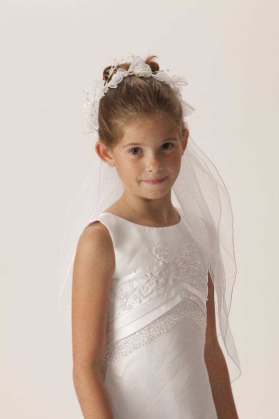 Floral Crown Veil *WHILE SUPPLIES LAST* first communion, first communion veil, white veil, headband veil, eucharist veil, holy communion veil, crown veil, floral crown