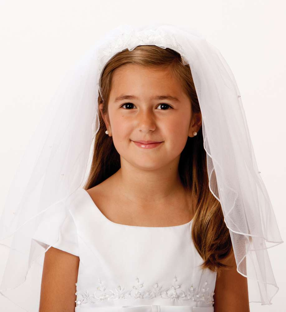 Floral Headband Veil *WHILE SUPPLIES LAST* first communion, first communion veil, white veil, headband veil, eucharist veil, holy communion veil