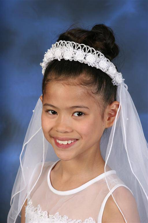 Floral Veil With Hearts Crown *WHILE SUPPLIES LAST* first communion, first communion veil, white veil, headband veil, eucharist veil, holy communion veil