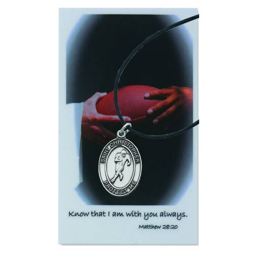 Football Sports Necklace Set football necklace, sports necklace, pewter necklace, prayer card, sports medals, psd770ft