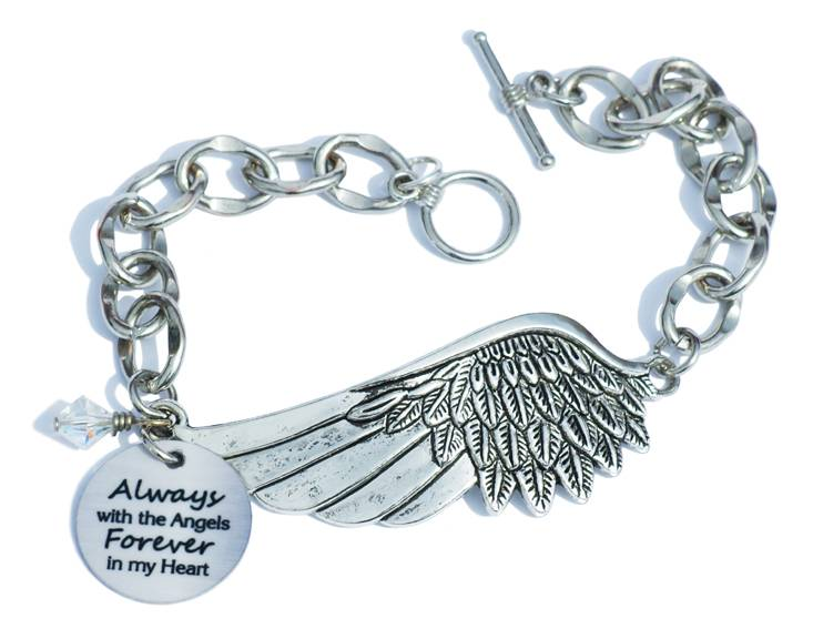 %27Forever in My Heart%27 Angel Wing Bracelet memorial gift, memorial bracelet, gift for loss of father, gift for loss of mother, gift for loss of mom, gift for loss of dad, gift for loss of sister, gift for loss of brother, gift for loss of husband, gift for loss of child, gift for loss of infant, gift for loss of baby, memorial bracelet, loss of loved one bracelet, in memory gift, funeral gift