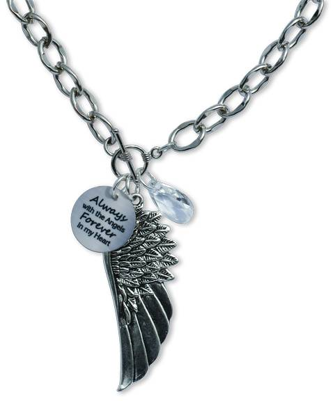 %27Forever in My Heart%27 Angel Wing Necklace memorial gift, memorial necklace, gift for loss of father, gift for loss of mother, gift for loss of mom, gift for loss of dad, gift for loss of sister, gift for loss of brother, gift for loss of husband, gift for loss of child, gift for loss of infant, gift for loss of baby, memorial necklace, loss of loved one necklace, in memory gift, funeral gift