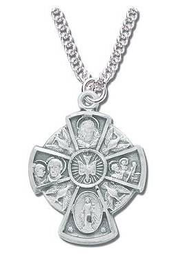 Four Way Pendant first communion 4 way necklace, sacramental 4 way necklace, 4way pendant, silver pendant, silver 4 way, first communion gift, reconciliation gift, confirmation gift, RCIA gift, sacrament gift.