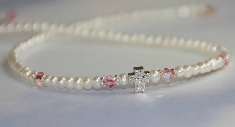 Freshwater Pearls, Pink Crystal and Cross Necklace NECKLACE, PEARL NECKLACE, CROSS NECKLACE, SACRAMENTAL GIFT, MOTHERS DAY GIFT, STG-153N