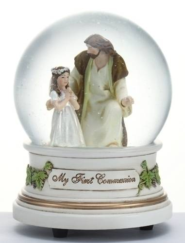 Girl with Jesus First Communion Musical Glitterdome first communion gift, first communion girl, girl and jesus figure, glitterdome, first communion snow globe, girl and jesus figure, 41509