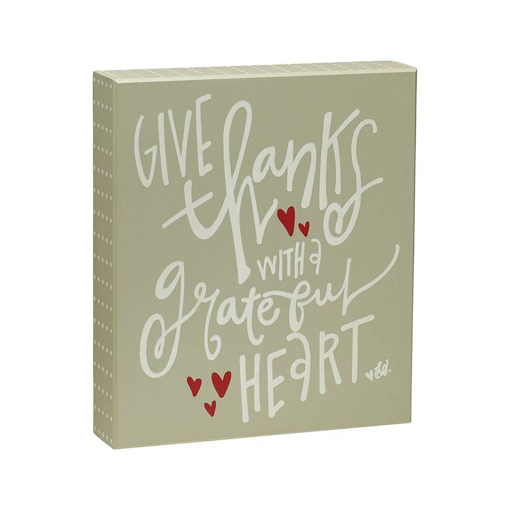 Give Thanks Heart Box Sign  cmas15b, box sign, box message holder, home decor, inspriational message, house gift, EB-7723