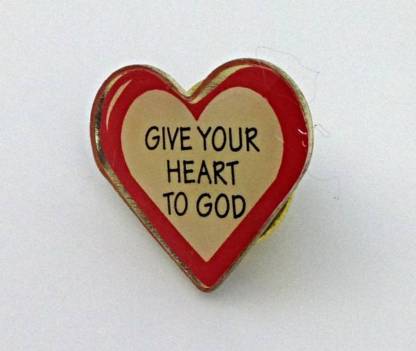 Give Your Heart To God Lapel Pin/25 PK lapel pin, heart pin, heart to god pin, group gift, retreat gift, 72092