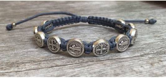 Grey/Silver St. Benedict Blessing Bracelet with Story Card bracelet, blessing bracelet, medjugorje bracelet, st benedict bracelet, colored bracelet, handmade bracelets, girl gift, boy gift, sacramental gift, healing gift, prayer gift, first communion gift, reconciliation gift, confirmation gift, graduation gift, quantity discounts,