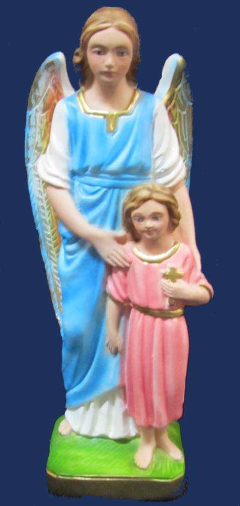 Guardian Angel and Girl Statue plaster statue, italian plaster, made in italy, hand painted statue, home decor, church decor, guardian angel statue, angel and girl statue, sacramental gift, SGANGGU/G20