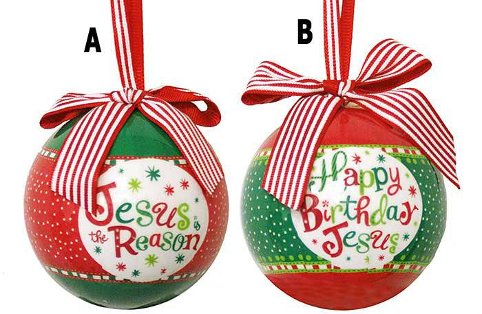 "Happy Birthday Jesus / Jesus is the Reason 3"" Ornaments, Sold Individually JESUS IS THE REASON FOR SEASON ORNAMENT, JESUS BIRTHDAY ORNAMENT, JESUS BDAY ORNAMENT, CHEAP BULK ORNAMENTS, BULK ORNAMENT, CHEAP ORNAMENT, SALE ORNAMENT, RELIGOUS ORNAMENT, RELIGIOUS ORNAMENT, BULK RELIGIOUS ORNAMENT, BULK RELIGIOUS GIFT, HAPPY BDAY JESUS"
