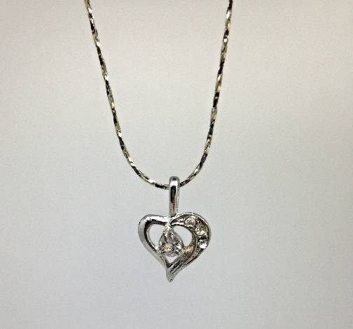 Heart and Rhinestone Necklace/12 PK