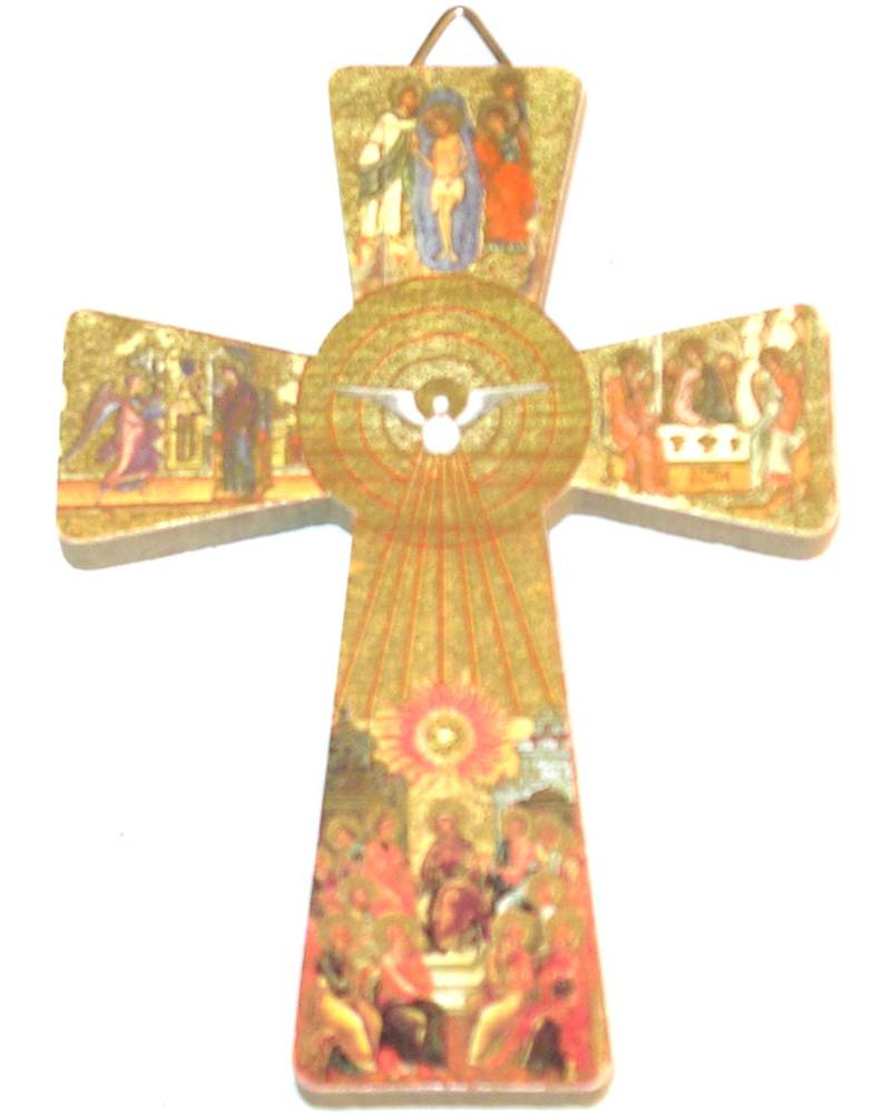Holy Spirit Icon Look Cross wall cross, wall crucifix, confirmation cross, holy spirit cross, confirmation gift, sacrametnal gift, RCIA gift.