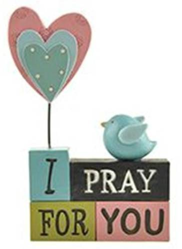 %27I Pray for You%27 Stacked Blocks with Bird stacked block, block sign, home decor, table top decor, prayer blocks, inspirational block sign, 161-10640