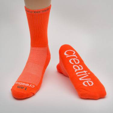 %27I am creative%27™ Neon Orange crew with White Words cmas15n, message socks, inspirational socks, i am creative, orange socks, crew socks, gift, any occasion gift, clothes,