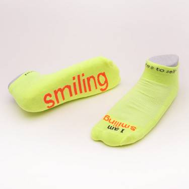 %27I am smiling%27® Neon Yellow low-cut with Neon Orange Words cmas15n, message socks, inspirational socks, i am smiling, white socks, gift, any occasion gift, clothes, c218ya