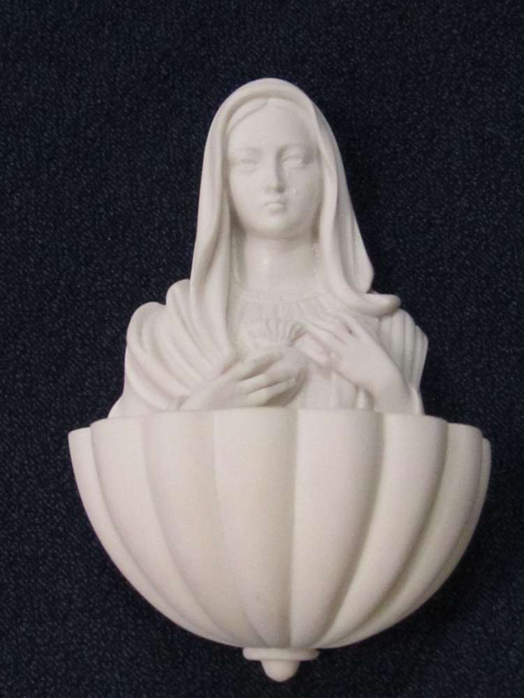 Immaculate Heart Holy Water Font holy water font, immaculate heart of mary, mary statue, mary holy water font, HWF, home decor, chapel decor, church decor, 01256