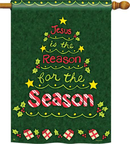 """Jesus is the Reason for the Season"" House Flag garden flag, house flag, christmas flag, outdoor decor, home decor, jesus is the reason flag,95003"