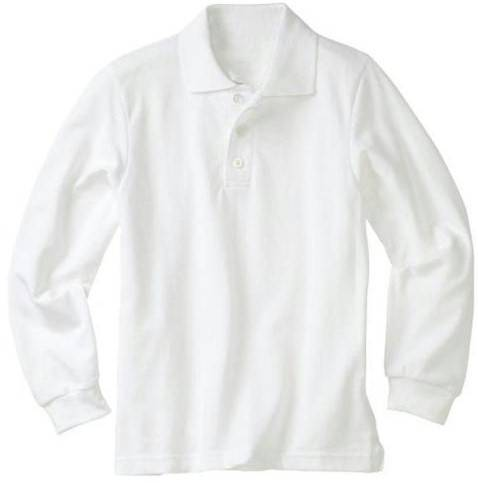 Unisex White Pique Polo Uniform Shirt, Long Sleeve uniform, shirts, girls shirt, white shirt, knit shirt, long sleeve shirt, school shirt, 6238yt, 6238ar
