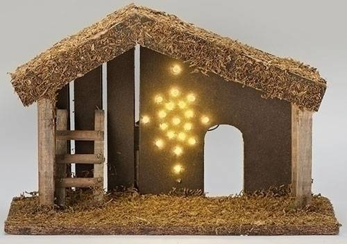 "LED Fontanini Nativity Stable 9""x12"" lighted stable, fontanini stable, nativity stable, wood nativity stable, nativity creche, nativity crib"