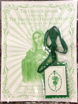 Laminated Green Scapular scapular, green cloth scapular, necklace, scapular necklace, sacramental gift, 14460, laminated