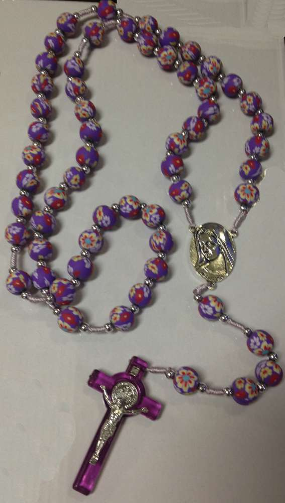 Large Purple Clay Bead Cord Rosary cord rosary, purple rosary, clay bead rosary, sacramental gift, large rosary, 13CL004