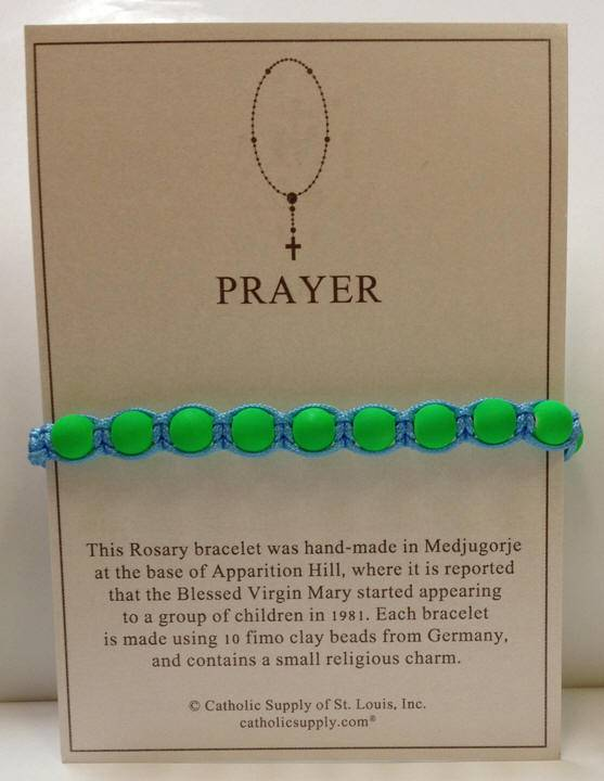 Light Blue/Green Rosary Bracelet with Story Card - 03066