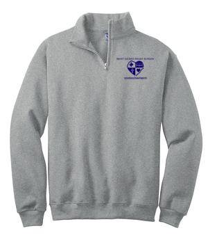 MSHS Quarter-Zip Grey Sweatshirt, Heat Transfer Logo