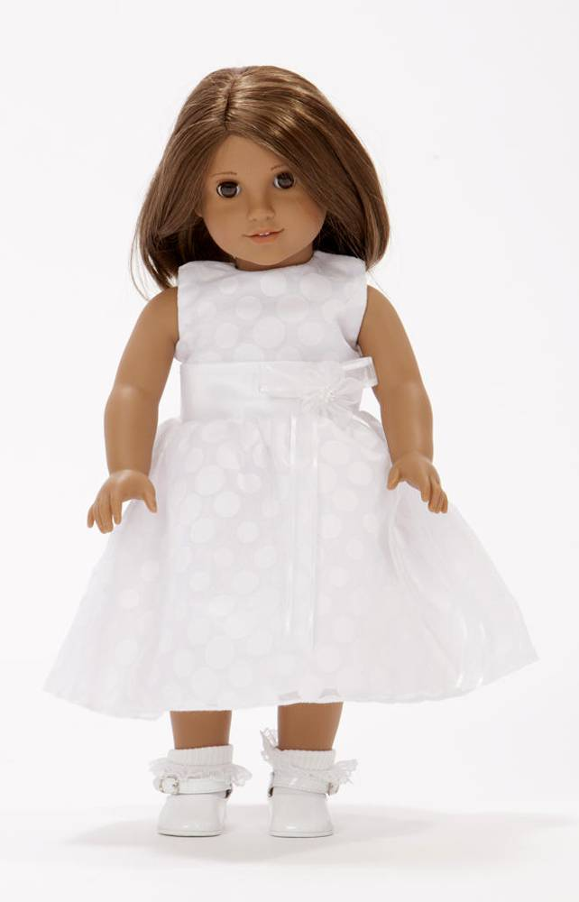 "Maggie First Communion 18"" Doll Outfit doll apparel, first communion dress for doll, doll dress, doll first communion dress,  white doll dress"
