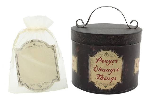 "Metal ""Prayer Changes Things"" Bucket with Cards  *WHILE SUPPLIES LAST* Metal ""Prayer Changes Things"" Bucket with Cards, prayer bin, prayer bucket, prayer jar, prayer box"