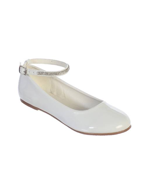 Molly White Shoe with Rhinestone Strap *WHILE SUPPLIES LAST* first communion shoe, white shoe, girls shoe, white ballet flat, white ballet shoe, special occasion shoe,