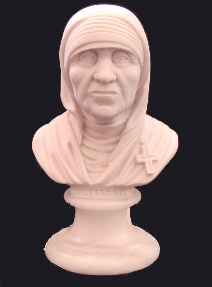 Mother Teresa Bust, Made in Italy MT,mother theresa statue, saint mother teresa, saint teresa, head of mother theresa, saint statue, marble statue, home decor, church decor, italian statue, 01283