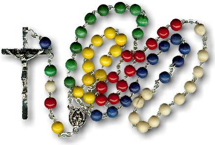 Multi Colored Wood Mission Rosary rosary, wood rosary, mission rosary, colored,  italian made, sacramental rosary, 00711,sacramental gift,