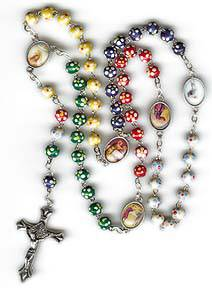 Mysteries of Light Rosary rosary, mysteries of light, colored wood beads, italian made, prayer card, 00741