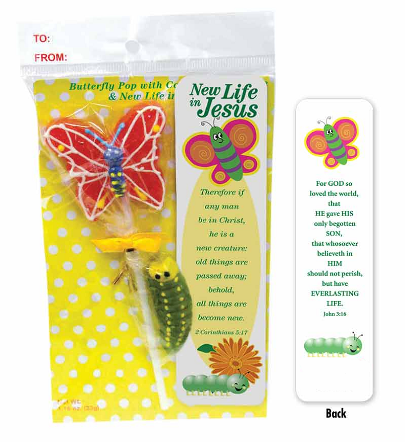 %27New Life%27 Butterfly Pop with Gummie Caterpillar SEASONAL ITEM RCIA gift, RCIA, adult baptism, adult confirmation, adult first communion, first communion pop, sucker, butterfly sucker, Easter